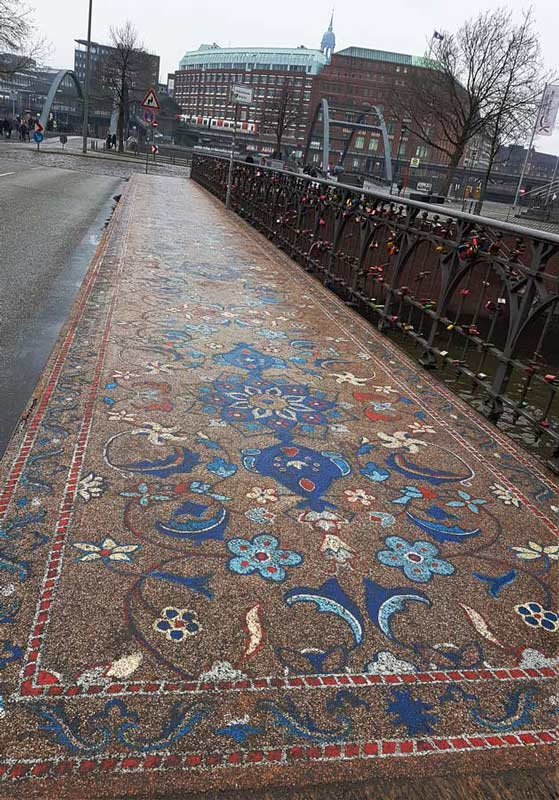 hamburg hafen city bridge with stone mosaiclike oriental carpetk