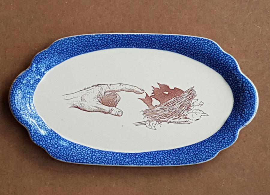 old blue and white oval china plate fired with a laser decal depicting a hand pointing to a nest with three birds